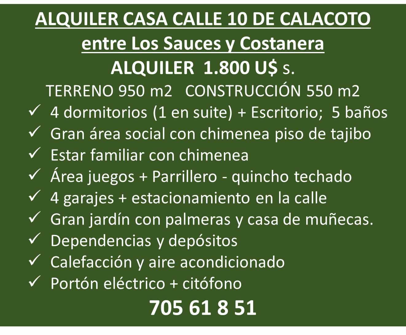Casa en Alquiler Calle 10 de Calacoto casi esq Av. Costanera Foto 1